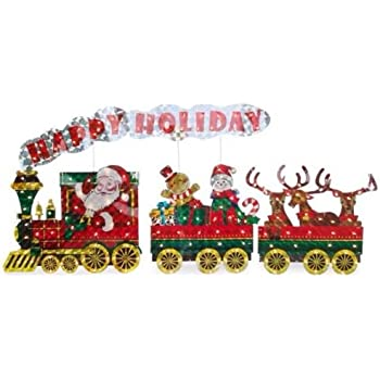 light up holographic santa train 3 piece set outdoor christmas decor