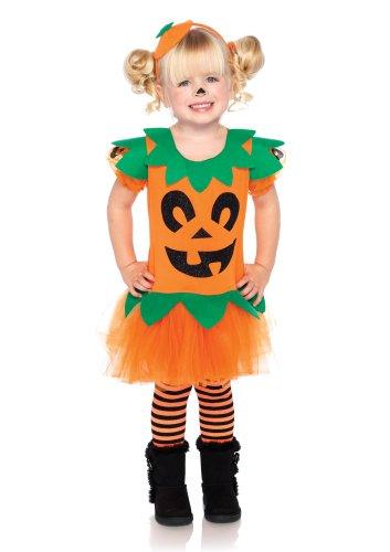 [Leg Avenue Costumes 2Pc.Pretty Pumpkin Dress with Jack O' Lantern and Headband, Orange, 3T-4T] (Child Pretty Pumpkin Costumes)