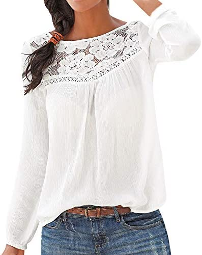 [해외]Meikosks Women`s Long Sleeve T Shirt Lace Patchwork Blouses Casual Elegant Tops / Meikosks Women`s Long Sleeve T Shirt Lace Patchwork Blouses Casual Elegant Tops White