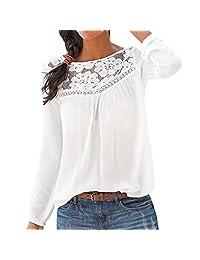 Funic Blusa de Manga Larga con Cuello de Pico y Encaje para Mujer