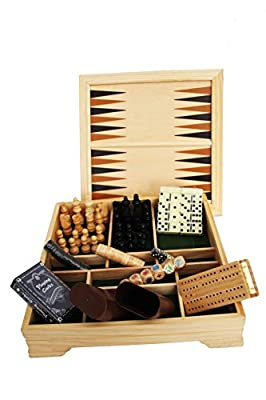 Xtitix Desktop Travel Game Set Chess, Checkers, Backgammon, Cribbage, Dominos, Playing Cards and Poker Dice