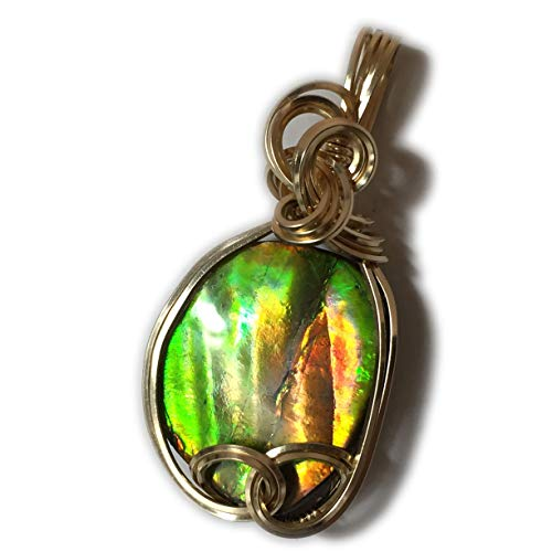 - Ammolite Pendant 14k Gold Filled - Orange Green with Black Leather Necklace, Elegant Gift Box Rocks2Rings Wire Wrapped Jewelry 3g03 ZR