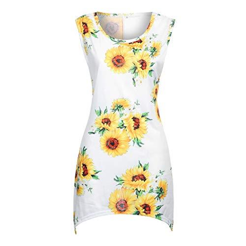 - Benficial Fashion Womens T Shirt Summer Casual Sunflower Print Sleeveless O-Neck Tops 2019 Summer New White