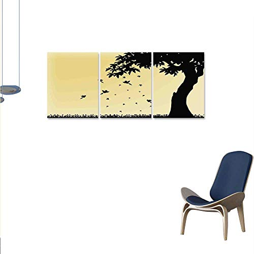 smllmoonDecor Autumn Canvas Wall Art Set Autumn Season Theme Silhouette of a Tree with Falling Leaves and Birds Pattern Wall Stickers 16