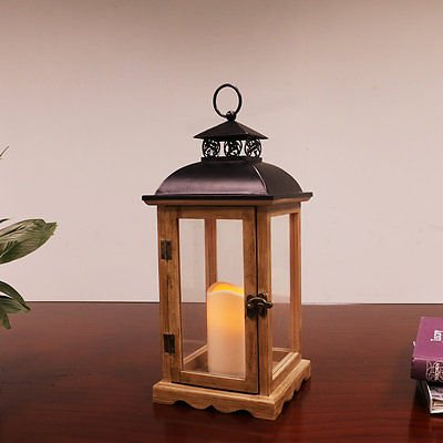 Puleo International 14 1/2 inch tall Wood and Metal Lantern with LED Candle by Puleo International