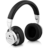 Zinsoko Headphone Active Noise Cancelling Wireless Bluetooth Over-ear Stereo Headphones with Microphone and Volume Control with Charging Cable & Carrying Case for Travel Headset-Silver