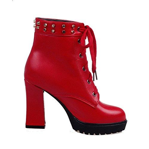 AgooLar Damen Spitz Zehe Niedrig-Spitze Hoher Absatz PU Leder Stiefel mit Rivet Set, Rot, 39