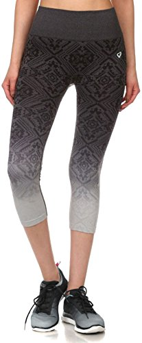 Simplicity Junior's Activewear Seamless Ombre Jacquard Capri Leggings Pants