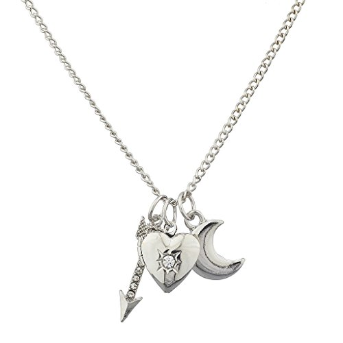 Lux Accessories Silvertone Arrow, Heart, and Moon Charm Necklace (3 PCS) (Stevie Nicks Moon Necklace)