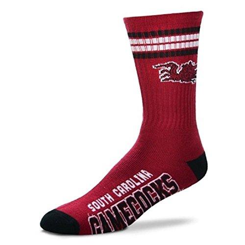 Carolina Gamecock University South Logo (South Carolina Gamecocks 4 Stripe NCAA Crew Socks Size Medium Men's 5-10)