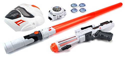Future Space Warrior Deluxe Children Kid's Toy Activity Roleplay Pretend Playset w/ Light Up Sword Saber, Blaster, Mask, Disc Shooting Wrist Watch