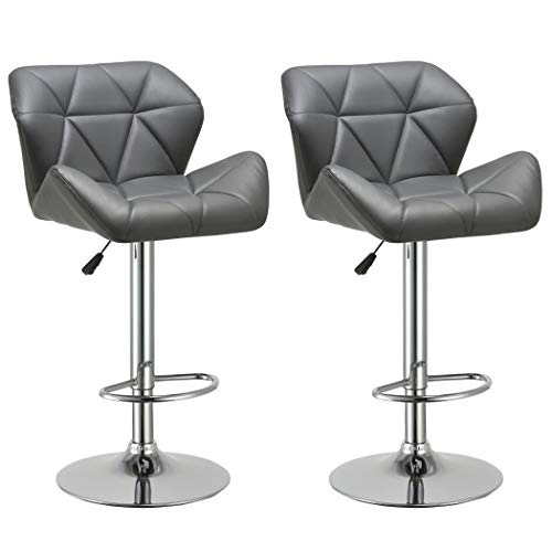 Duhome Set of 2 Modern Contemporary Synthetic Leather Bar Stools Kitchen Counter Bar Chairs (Grey) (Luxury Bar Stools)
