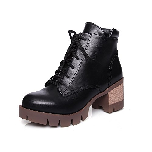 AmoonyFashion Womens Round Closed Toe Kitten-Heels Soft Material Low-Top Boots with Knot Black AHE2rDUL