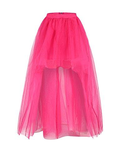 HaoDuoYi Womens Mesh Tulle High Low Tutu High Waist Wedding Skirt(L,Rose Red)