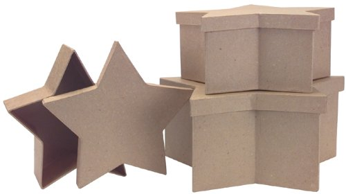 DCC Paper Mache Star Box, 12-Inch by 10-Inch by 8-Inch, Set of 3