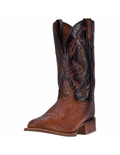 Mens 12' Dan Post - Dan Post Men's 12'' Conrad Ostrich Wide Round Toe Western Fashion Boots, Brown Leather, 10 EW