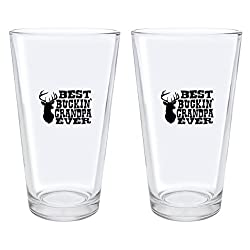 Christmas Gifts for Grandpa Best Buckin' Grandpa Ever Deer Hunting Gift Fathers Day Gifts for Grandpa Gift Pint Glasses 2-Pack Pint Glass Set Clear