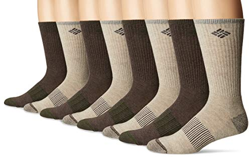 Columbia Men's 4 Pack Heather Crew Socks, Brown, OS