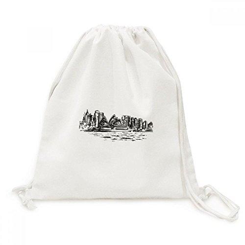 Australia Sydney Opera House Sketch Canvas Drawstring Backpack Shopping Travel Lightweight Basic Bag - Shopping Sydney Australia
