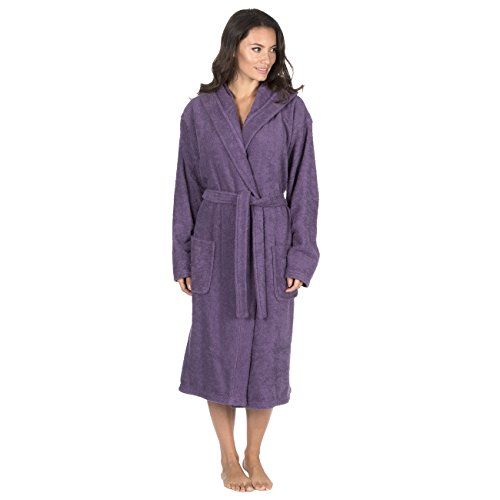 Forever Dreaming Women's Luxury Terry Towelling Bath Robe - Hooded Cotton Hotel Spa Gown Plum Large