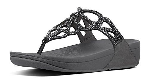 FitFlop Women's, Bumble? Crystal Toe Thong Sandal Pewter 8 M Pewter Crystal