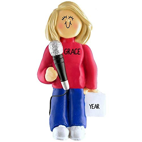 DBK Singing Singer Microphone Personalized Music Christmas Ornament Personalized Free (Female Blond Hair) (2019 Tree Singing Christmas)