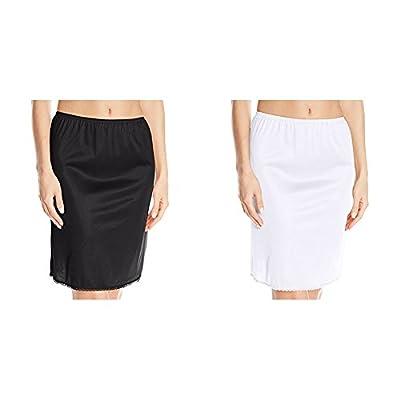 "Vassarette Women's Tailored Anti-Static Half Slip 11122, Black Sable/White Ice, Medium (24"" Length)"
