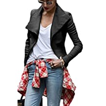 Women Punk Long Sleeve Lapel Slim Motorcycle Leather Jacket