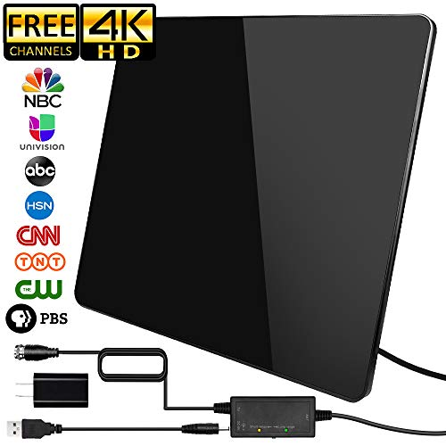 [2019 Newest] HDTV Antenna,Indoor Digital TV Antenna Amplified 160 Miles Range Support 4K 1080P VHF UHF & Older TV's Digital Antenna with Amplifier Signal Booster,17ft Coax Cable/USB Power Adapter
