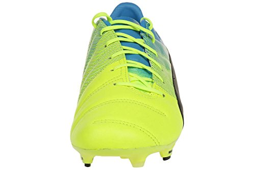 Puma Evopower 1.3 Lth Fg - Botas de fútbol Hombre safety yellow-black-atomic blue 01