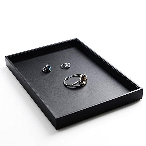 Oirlv Black Leather Jewelry Display Tray Perfume Phone Accessories Storage - Clearly Sunglasses Contacts