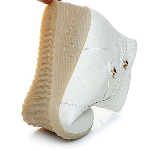 enfermera con KHSKX trabajo Rice botas white fondo Invierno botas de dichotomanthes zapatos zapatos pendiente cachemir cuero madre y termicas CCS5n