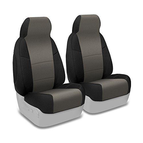 Coverking Custom Fit Front 50/50 High Back Bucket Seat Cover for Select Honda CR-Z Models - Neosupreme (Charcoal with Black Sides)