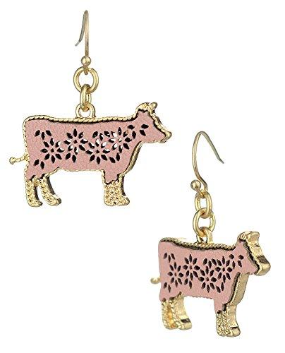 (Women's Faux Leather Hollow Filigree Cow Shaped Pierced Dangle Earrings, Light)