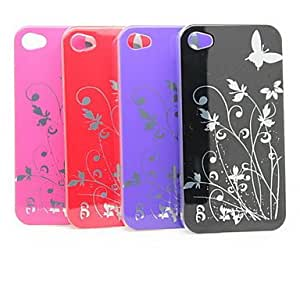 Batterfly and Flower Pattern Metle Protective Hard Case for iPhone4 (3 Pack, Random Colors)