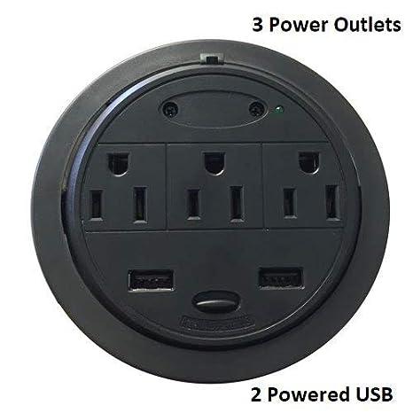 Home 'n' Office PowerTap Grommet Desktop Power Data Center (3 Power/1 Ethernet/2 USB (Power Data)) Duraline