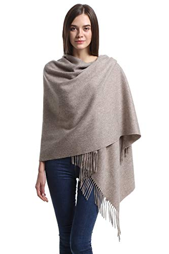 Cashmere Wrap Shawl for Women | Authentic 100% Pure Cashmere Extra Large (75inx25.6in) Scarf, Beige