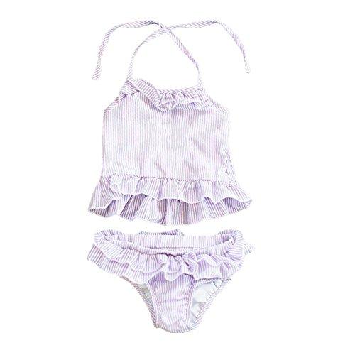 (MONOBLANKS Baby Girls Ruffle Seersucker Swimsuit Two Piece Bikini Swimwear Can be Monogrammed (12/18m, Purple))