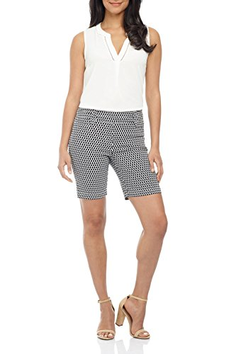 Rekucci Women's Ease in to Comfort Fit Perfection Modern Office Short (12,Black Ivory Diamond) (Flap Womens Shorts)