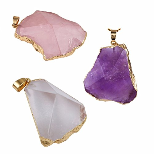 rockcloud Rose Quartz Amethyst Rock Quartz Pendant Necklace Stone Crystal Facet Irregular