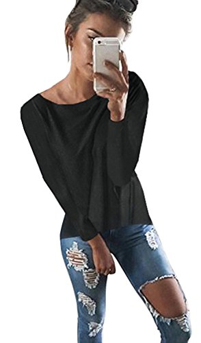 Yingkis Women Cut Out Loose Pullover Criss Cross Backless Sweater Shirt Top,B M by Yingkis (Image #1)