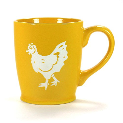CHICKEN Coffee Mug - YELLOW GOLD - 16 oz - Microwave-safe Engraved Stoneware