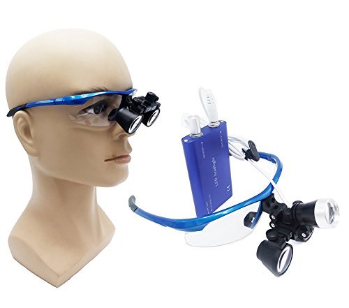 Zgood Portable Surgical Binocular Loupes 2.5X420mm Optical Glass + 3W LED HeadLight (Blue)