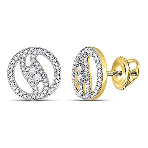 Roy Rose Jewelry 10K Yellow Gold Womens Round Diamond 2-stone Circle Stud Earrings 1/4-Carat ()