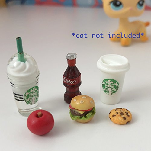 LPS Littlest Pet Shop - 6 PC Lot Accessories Food Starbucks Bow Soda Burger Hershey Bar Cupcake -