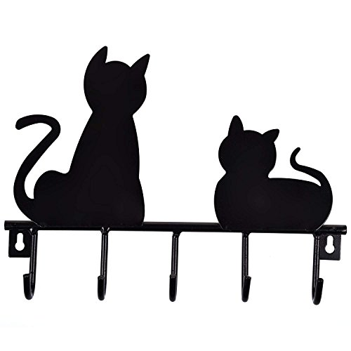 Black Cats Solid Metal Wall Mounted 5-Hooks Storage Rack