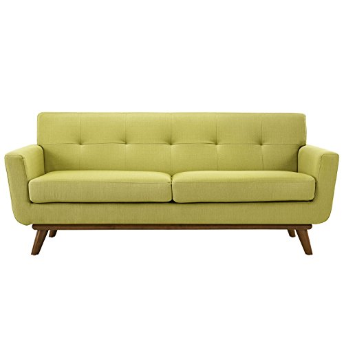 Modway Engage Mid-Century Modern Upholstered Fabric Loveseat In Wheatgrass (Room Seating)