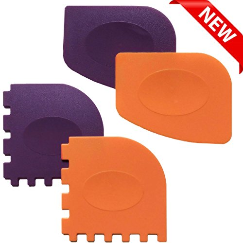 Pan Scrapers, Set of 4 Durable Pan Scrapers Grill Pan Scraper Cleaner Tools for all Pans Skillets, Cookware Baking Grill Pans (Orange, Purple) (Pack Skillet 2)