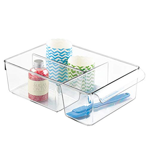 Clear Divided - iDesign Linus Plastic Fridge and Freezer Divided Storage Organizer Bin with Handle, Clear Container for Food, Drinks, Produce Organization, 8
