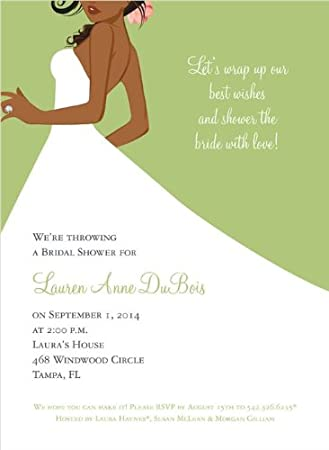 bridal side wasabi african american bridal shower invitation